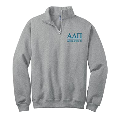 9adc4d627d Alpha Delta Pi Quarter Zip Pullover Sweatshirt at Amazon Men s ...