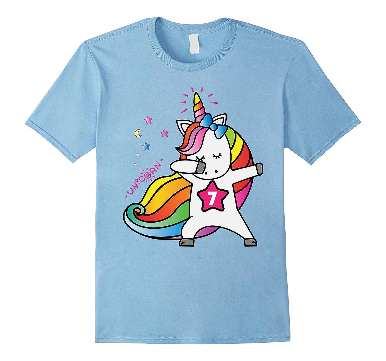 7th Birthday Shirt Birthday Girl 7 Unicorn T-Shirt July