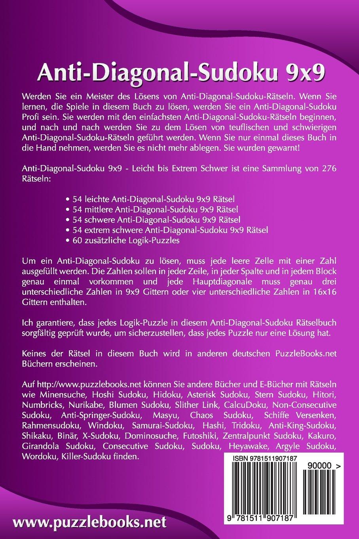 Anti-Diagonal-Sudoku 9x9 - Leicht bis Extrem Schwer - Band 1-276 ...