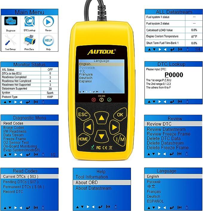 AUTOOL CS520 Car OBD2 Data Stream Freeze Frame Code Reader Diagnostic Scanner