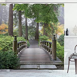Ambesonne Japanese Shower Curtain, Foggy Morning Wooden Bridge at Japanese Garden with Trees in Autumn Image, Cloth Fabric Bathroom Decor Set with Hooks, 70