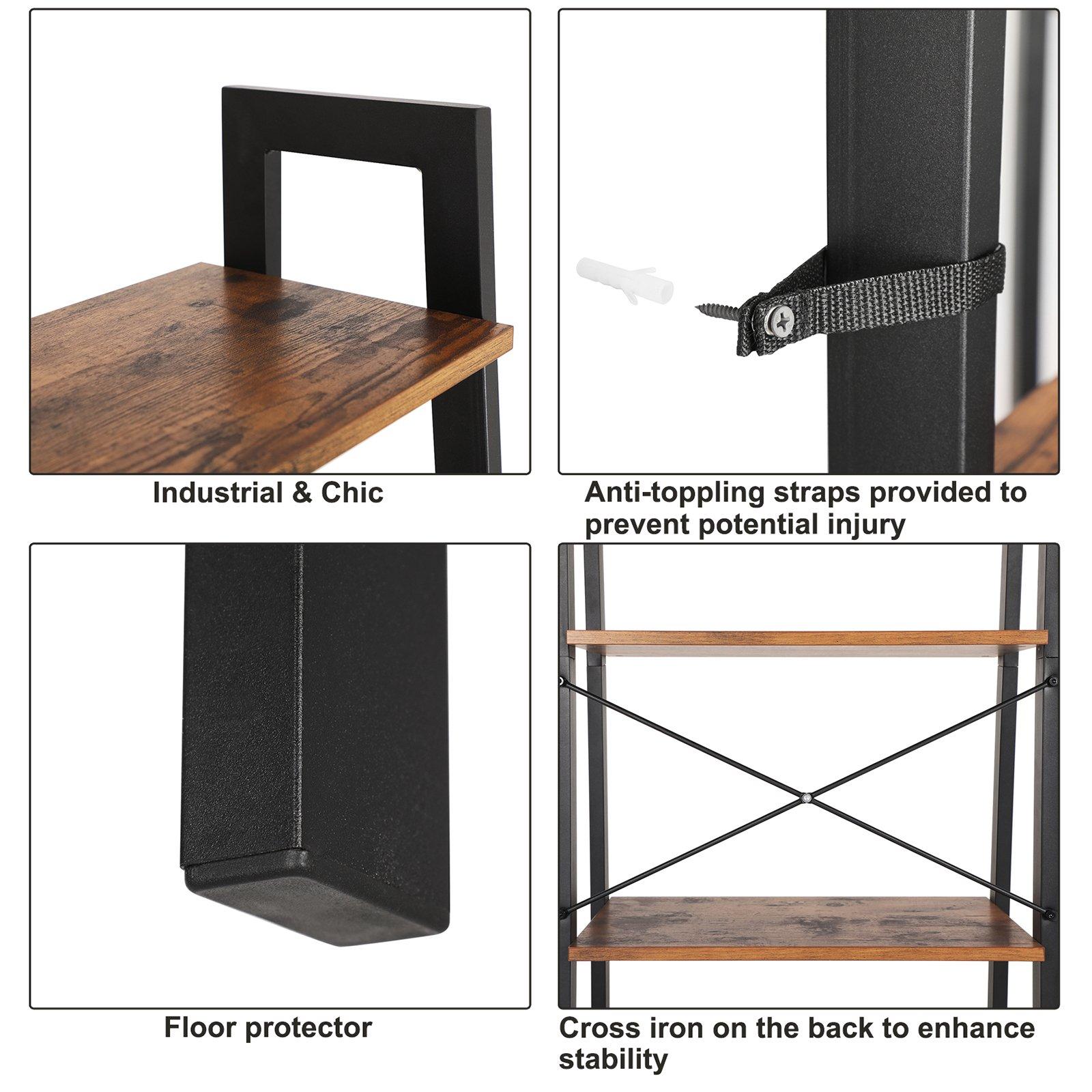SONGMICS Vintage Ladder Shelf 4 Tier Bookcase Plant Stand Storage Garden Bathroom Living Room Wood Look Accent Furniture Metal Frame ULLS44X