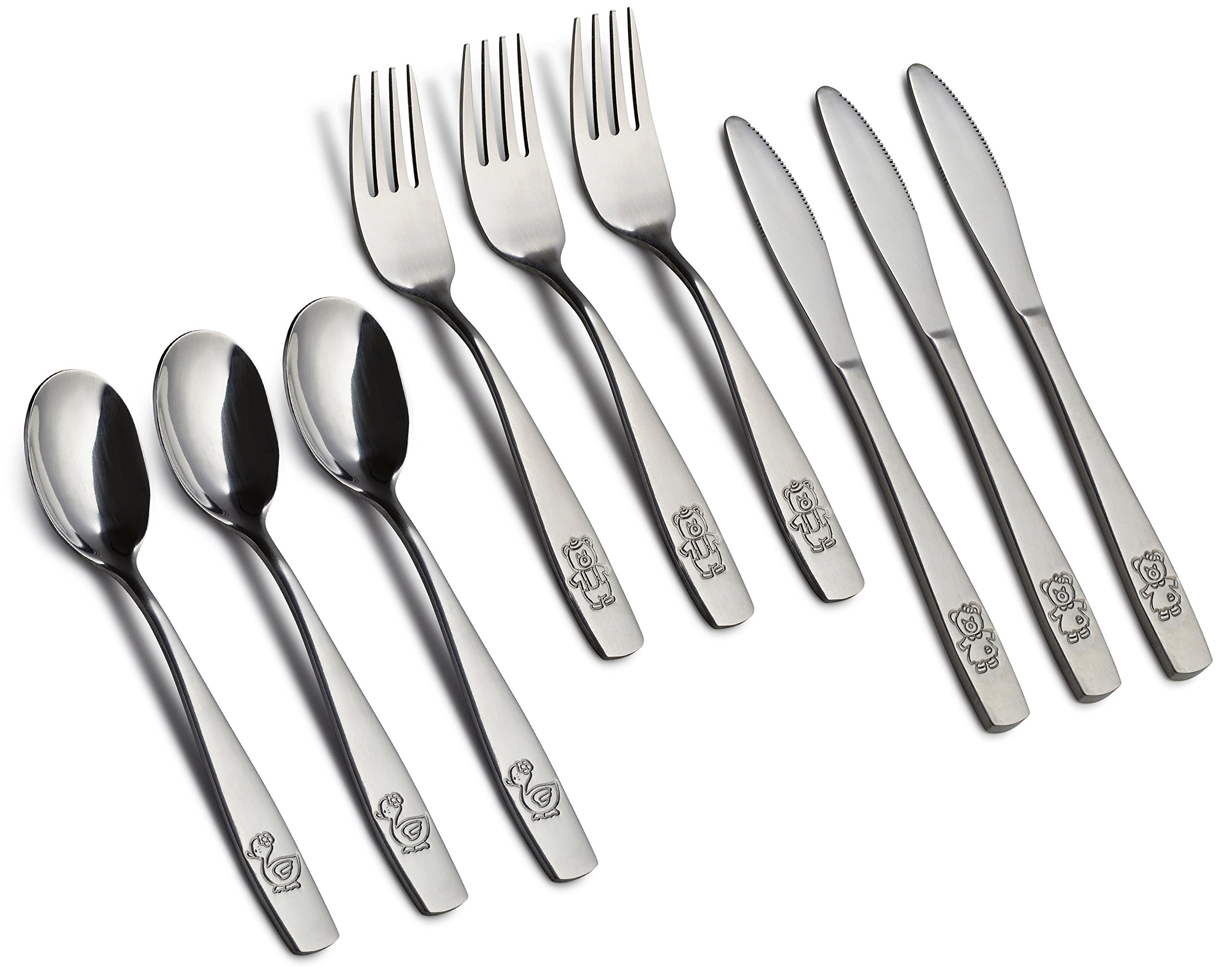 9 Piece Stainless Steel Kids Cutlery, Child and Toddler Safe Flatware, Kids Silverware, Kids Utensil Set Includes 3 Knives, 3 Forks, 3 Spoons, Total of 3 Place Settings, Ideal for Home and Preschools by GlossyEnd (Image #3)