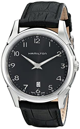 Hamilton Men s H38511733 Jazzmaster Stainless Steel Watch with Black Leather Band