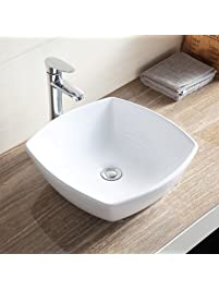 Mecor Bathroom Ceramic Vessel Vanity Sink Bowl White Porcelain Basin  Counter Top U0026 Pop Up Drain