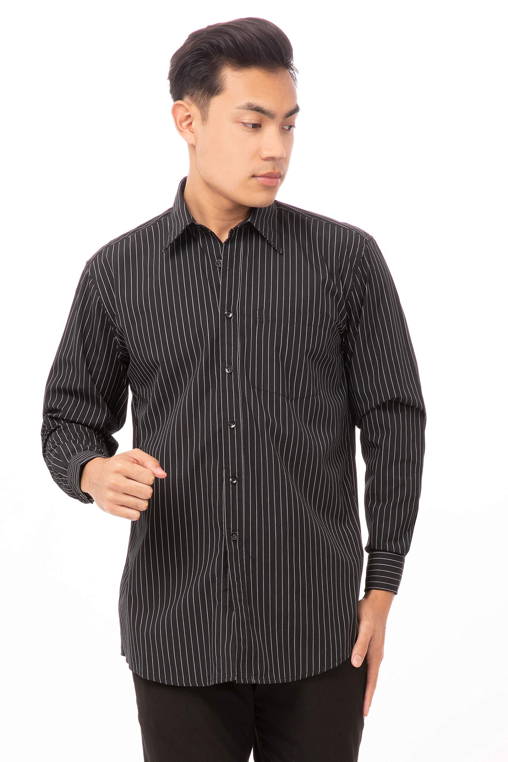 Chef Works Men's Basic Dress Shirt, Charcoal Dash, X-Large by Chef Works