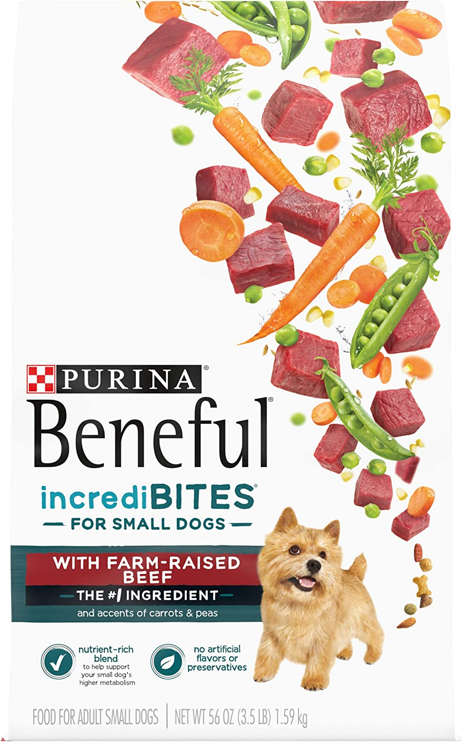 Purina Beneful Incredibites with Farm-Raised Beef, Small Breed Dry Dog Food - (4) 3.5 lb. Bags