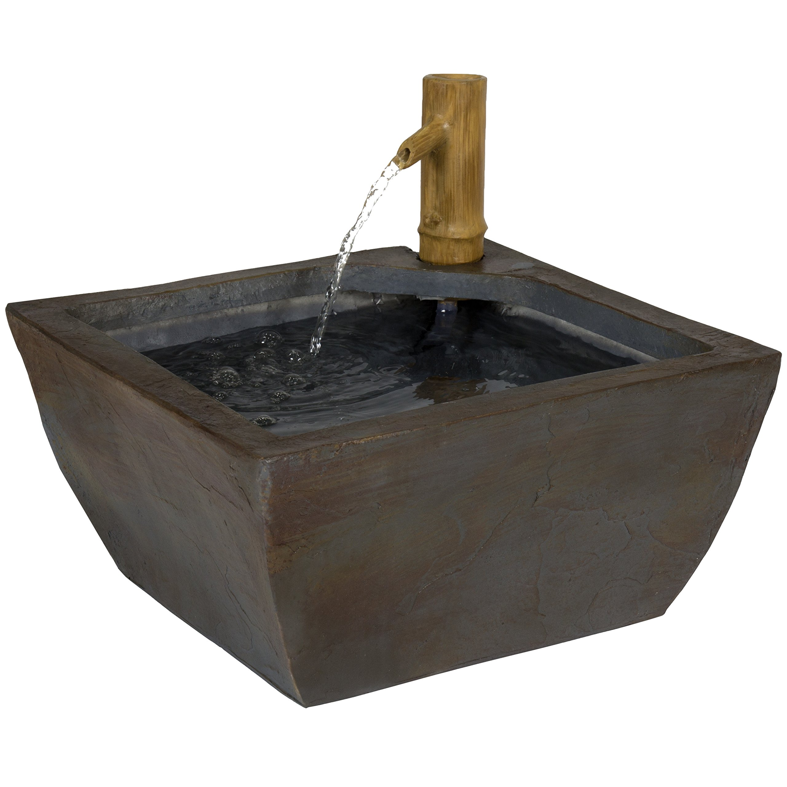 Best Choice Products 16in Indoor/Outdoor Polyresin Bamboo Spout Water Fountain, Backyard & Garden Decor w/Pump by Best Choice Products