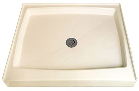 Shower Base Cultured Marble X Centered Drain Biscuit - Cast marble shower pans