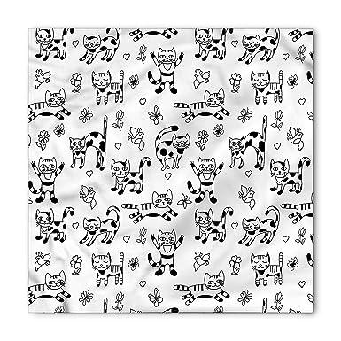 Tgyew Black And White Bandana Doodle Style Cats Unisex