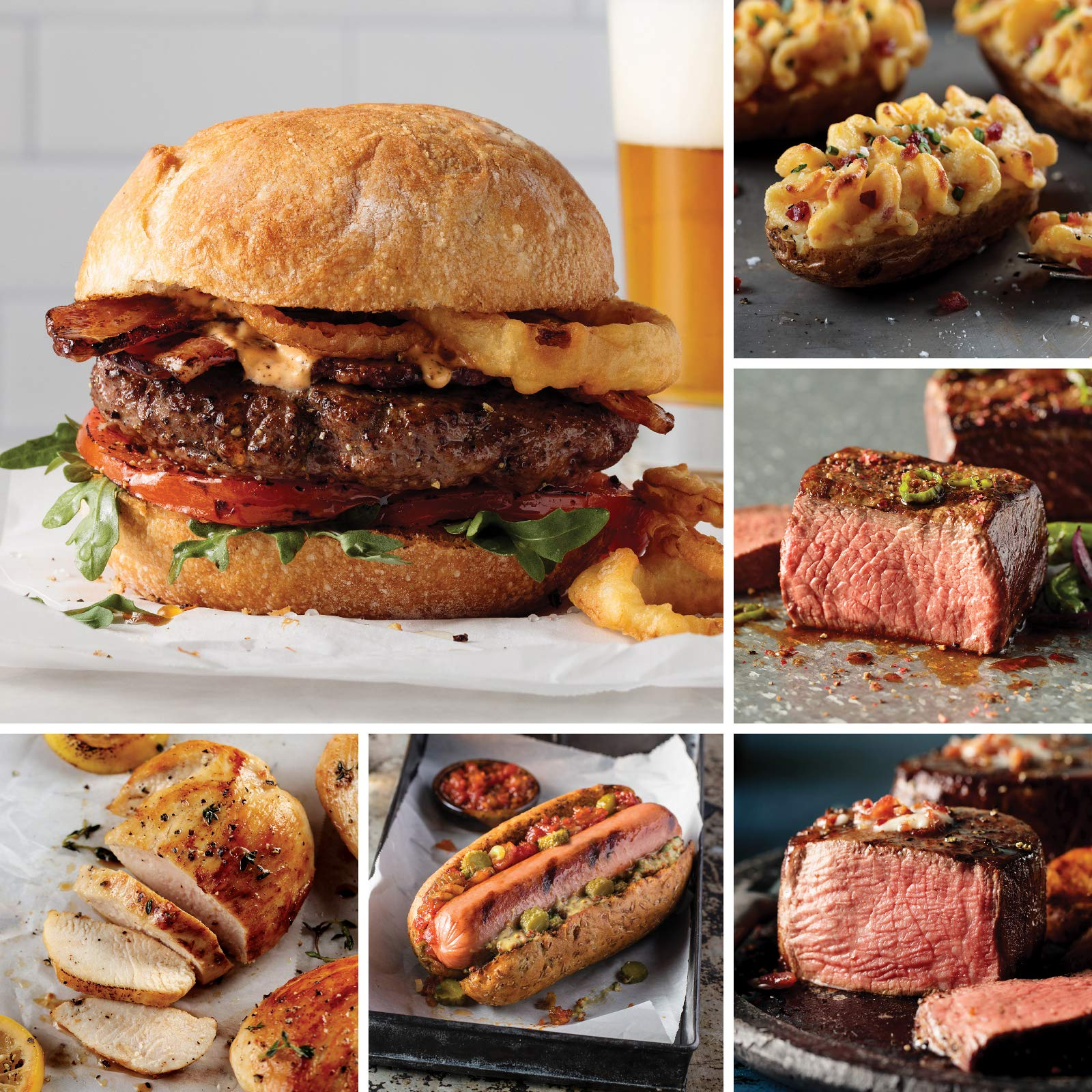 Omaha Steaks Grand Pack (24-Piece with Filet Mignons, Top Sirloins, Boneless Pork Chops, Boneless Chicken Breasts, Steak Burgers, Jumbo Franks, and Stuffed Baked Potatoes)