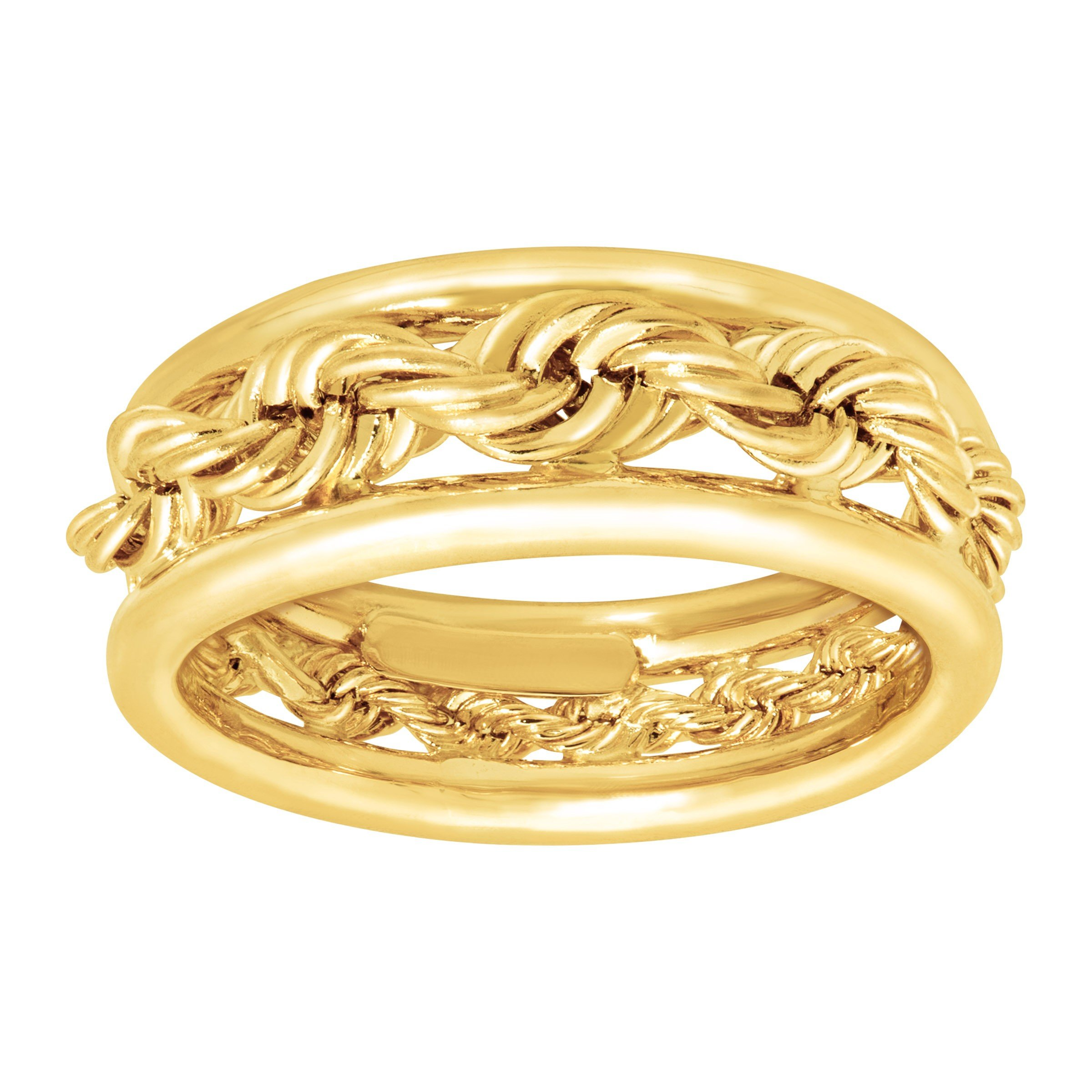 Just Gold Rope Band Ring in 14K Gold Size 7