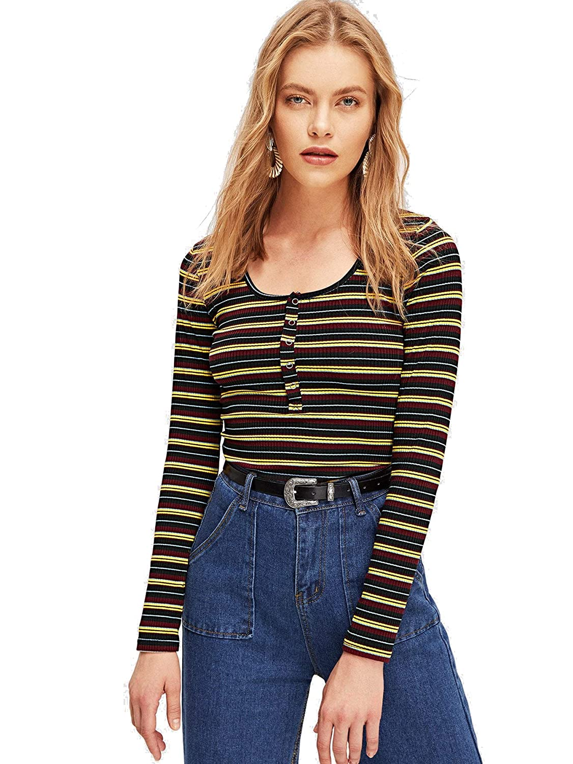 Bmulti4 Milumia Women's Casual Striped Ribbed Tee Knit Crop Top