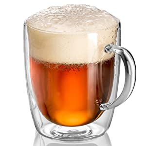 Beer Glasses | Mugs for Freezer with Handle | 17oz Double Wall Glass Insulated Large Mug | Keep Drinking Iced Cold | Dishwasher Safe | JECOBI