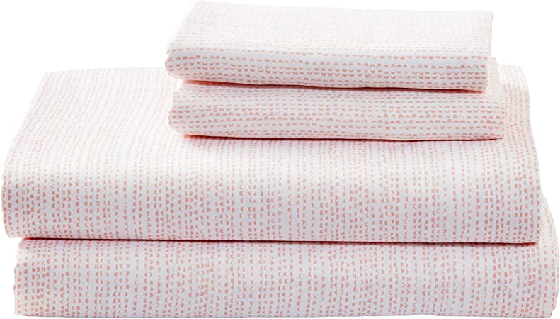 Rivet Half Moon Envelope Closure Pillowcase Set Sateen Cotton Set of 2 Standard Peach Pink // White