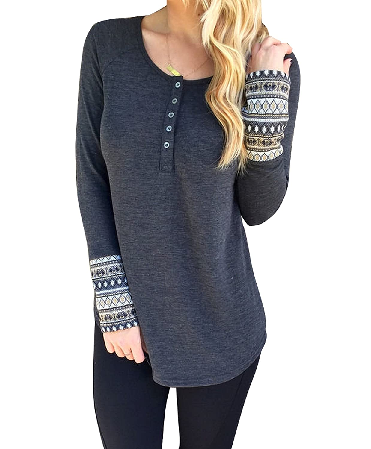 Women Round Neck Button Down Long Sleeve Loose Knit Sweater Jumper Top Grey