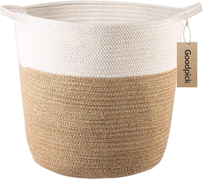"Goodpick Cotton Rope Storage Basket- Jute Basket Woven Planter Basket Rope Laundry Basket with Handles for Toys, Blanket and Pot Plant Cover, 16.0"" x15.0"" x12.6"""