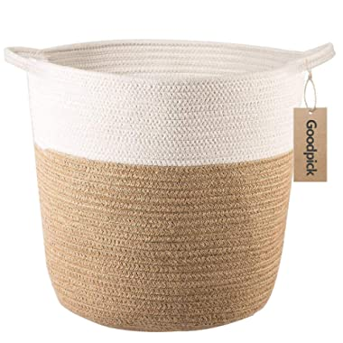 Goodpick Cotton Rope Storage Basket- Jute Basket Woven Planter Basket Rope Laundry Basket with Handles for Toys, Blanket and Pot Plant Cover, 16.0  x15.0  x12.6