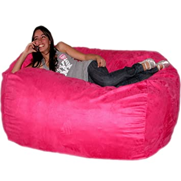 Cozy Sack 6 Feet Bean Bag Chair Large Hot Pink