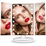 [Valentine's Day Gift] Lighted Vanity Makeup Mirror, HAMSWAN Beauty Mirror Touch Screen LED Foldable 180 Degree Rotation 1X 2X 3X Magnifying Mirror for Home Beauty Improvement