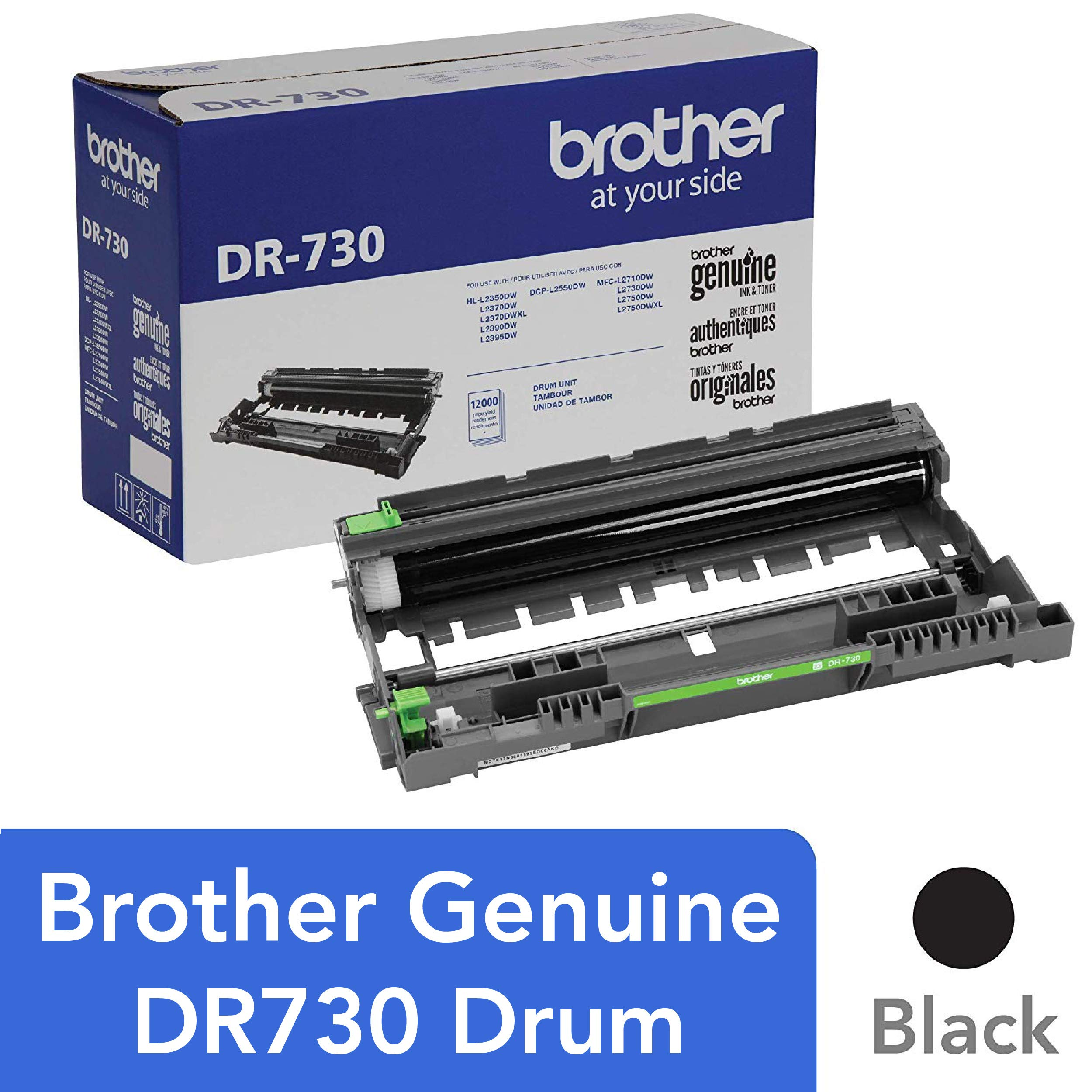 Brother Genuine Drum Unit, DR730, Seamless Integration, Yields Up to 12,000 Pages, Black