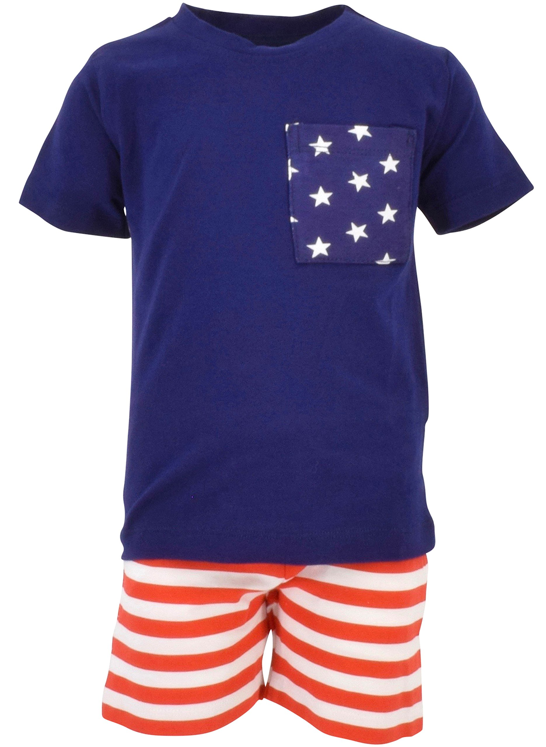 Unique Baby Boys Patriotic 4th of July 2-Piece Summer Outfit (8, Blue)