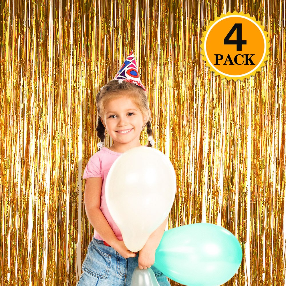 Zealor 4 Pack Metallic Tinsel Foil Fringe Curtains 3.28ft 8.2ft Backdrop for Parties and Celebrations(Gold) by Zealor