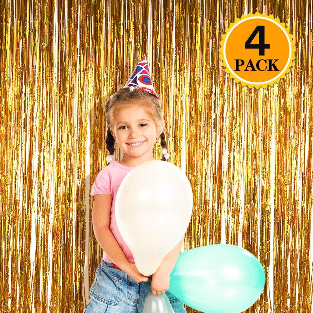 Zealor 4 Pack Metallic Tinsel Foil Fringe Curtains 3.28ft 8.2ft Backdrop for Parties and Celebrations(Gold)