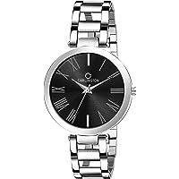 Carlington Analog Black Round Dial Quartz Steel Wrist Watch for Women's, Girls (Silver)