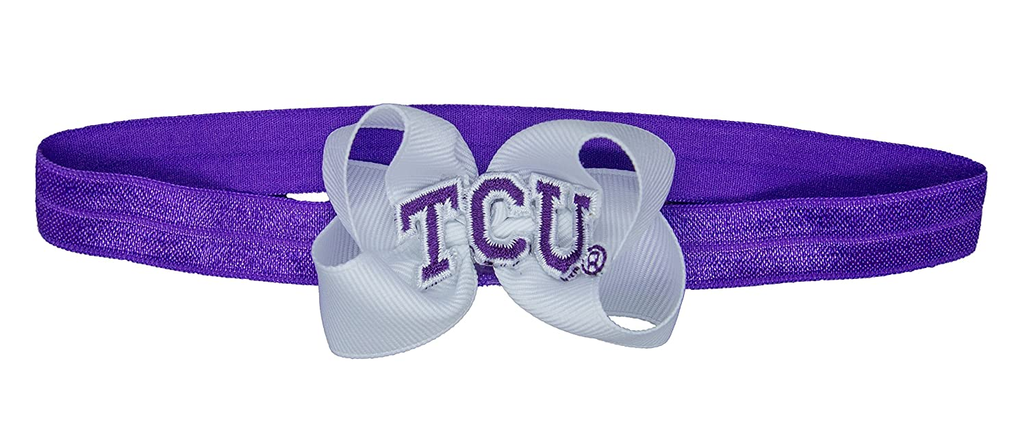 Purple//White One Size Divine Creations NCAA TCU Horned Frogs Baby Stretch Headband