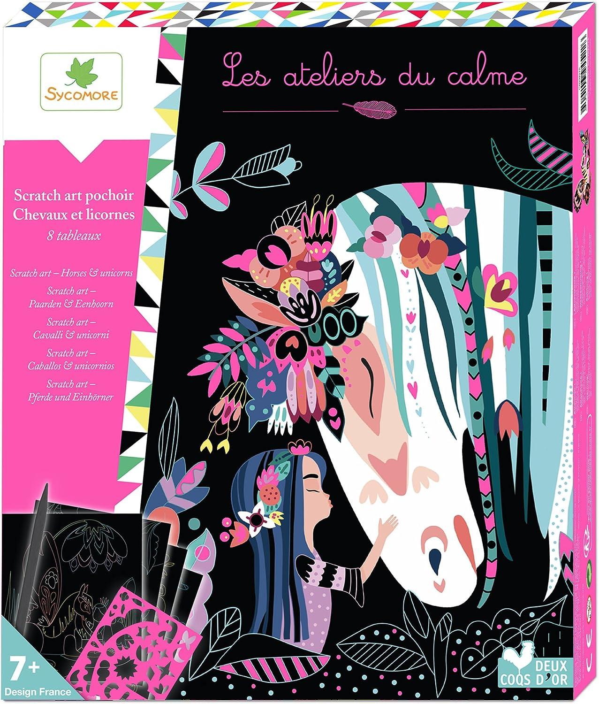 Les Ateliers Du Calme Tableaux Scratch Art Chevaux Et Licornes Creh515 Loisirs Créatifs