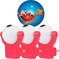 Projectables Santa & Reindeer LED Night Light, 3-Pack, Plug-in, Dusk to Dawn, Christmas Image on Ceiling, Wall or Floor…