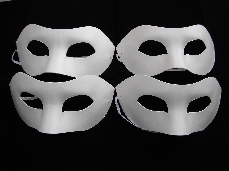 4 x HALF FACE MASK, PAINT MASK DECORATE PLAIN MASKS white mask ...