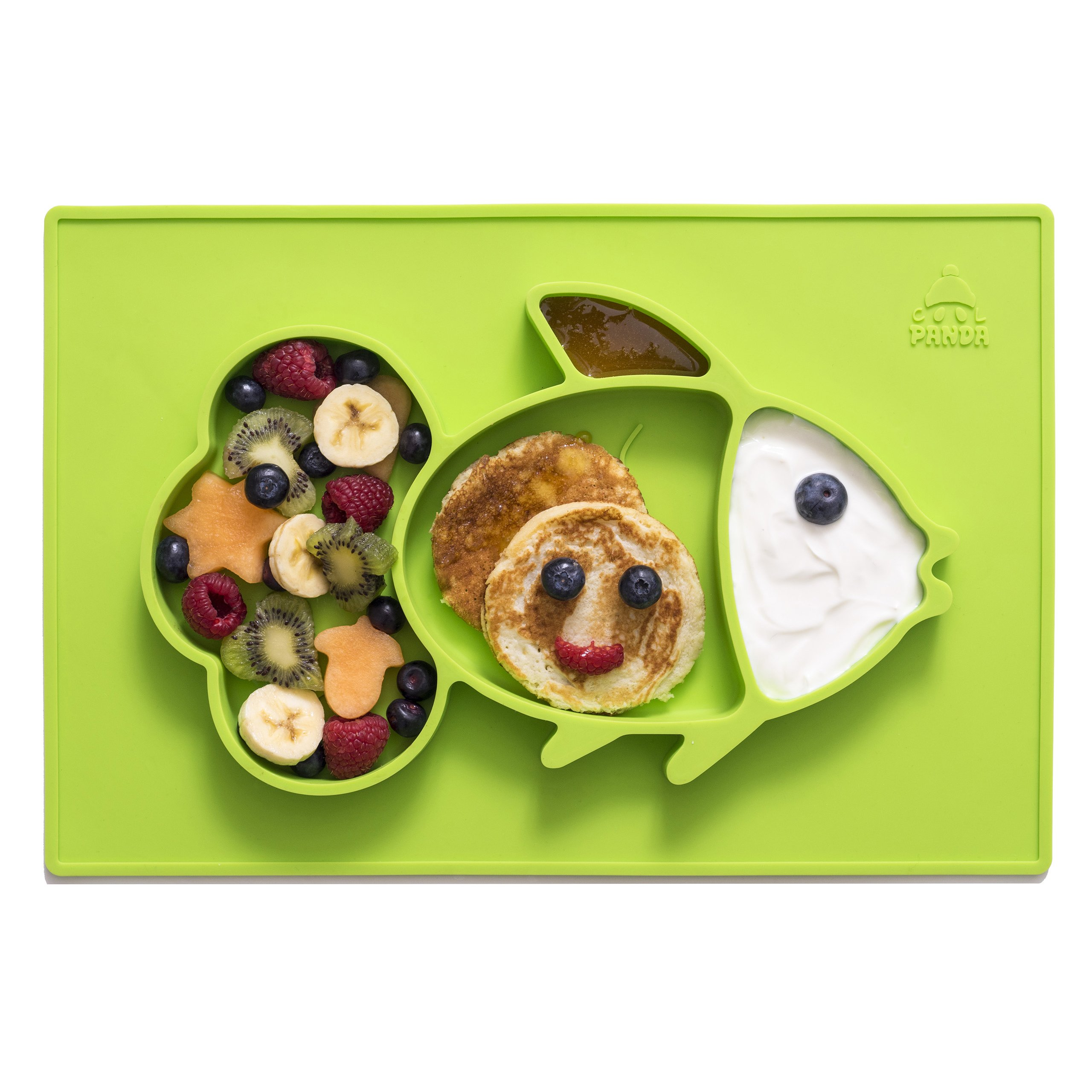 Cool Panda Premium Silicone Baby Placemat Set for Kids & Toddlers, Reusable Travel Bag, Non Slip Toddler Plates, Large Size: 15''x10''x1'', Green Silicone Bowl Mat with Spoon and Healthy Recipes E-Book