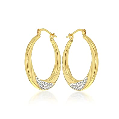 ba1c4eb12 Tuscany Silver Sterling Silver 9 ct Yellow Gold Bonded Crystal 24.5 mm Creole  Earrings: Amazon.co.uk: Jewellery