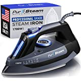 Professional Grade 1700W Steam Iron for Clothes with Rapid Even Heat Scratch Resistant Stainless Steel Sole Plate, True Posit