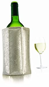 Vacu Vin 38805626 Rapid Ice Active Cooler Wine Bottle Chilling Sleeve Standard Platinum