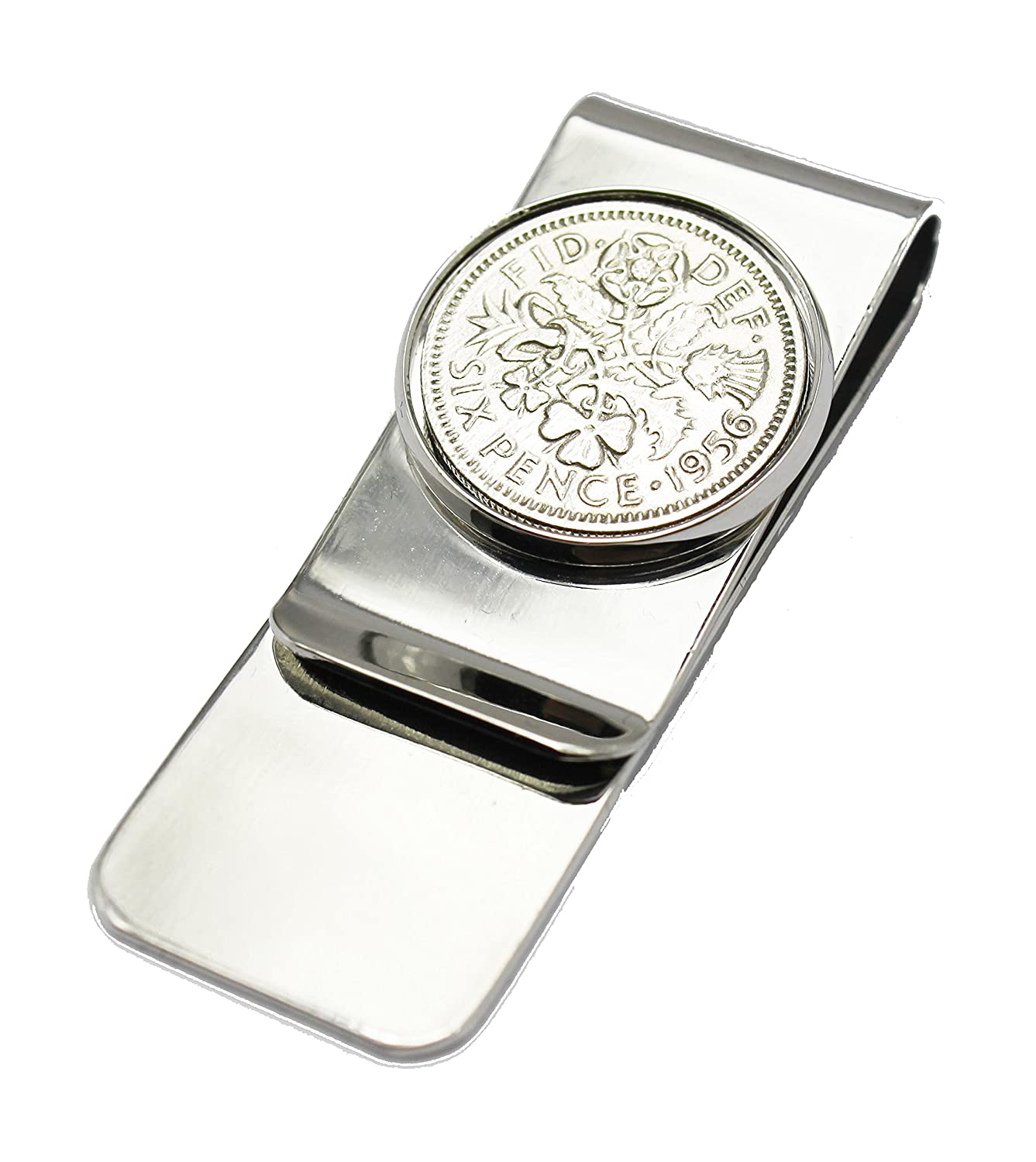 Personalised Engraved 1938 Lucky sixpence Money Clip Sweet Treasure