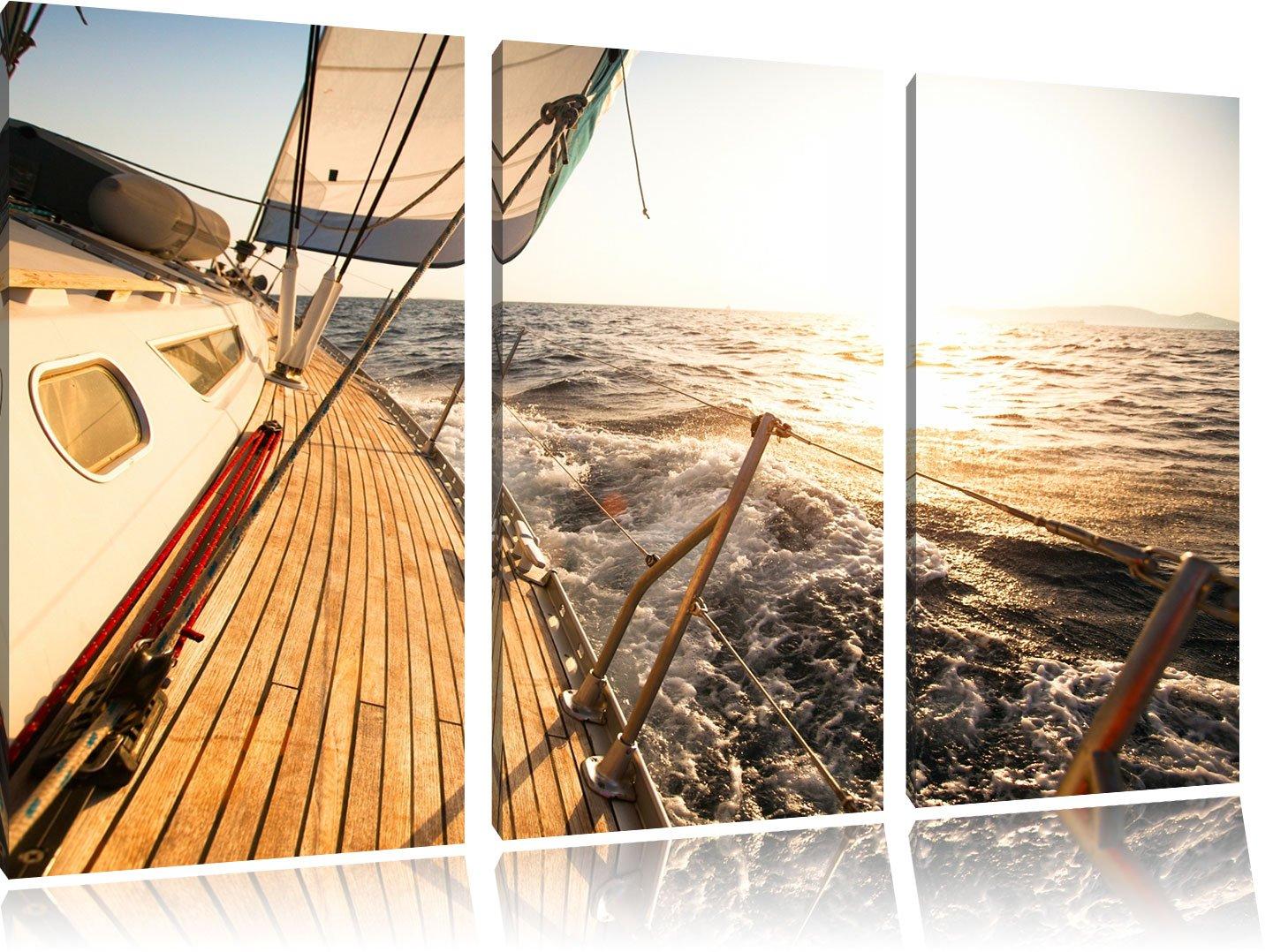 Segelboot im Meer 3-Teiler Leinwandbild 120x80 Bild Bild Bild auf Leinwand, XXL riesige Bilder fertig gerahmt mit Keilrahmen, Kunstdruck auf Wandbild mit Rahmen, gänstiger als Gemälde oder Ölbild, kein Poster oder Plakat e740c6