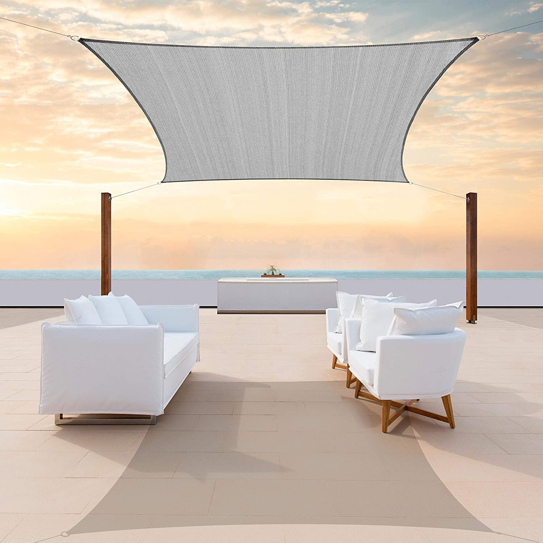 ColourTree 16' x 16' Grey Square CTAPS16 Sun Shade Sail Canopy Mesh Fabric UV Block - Commercial Heavy Duty - 190 GSM - 3 Years Warranty