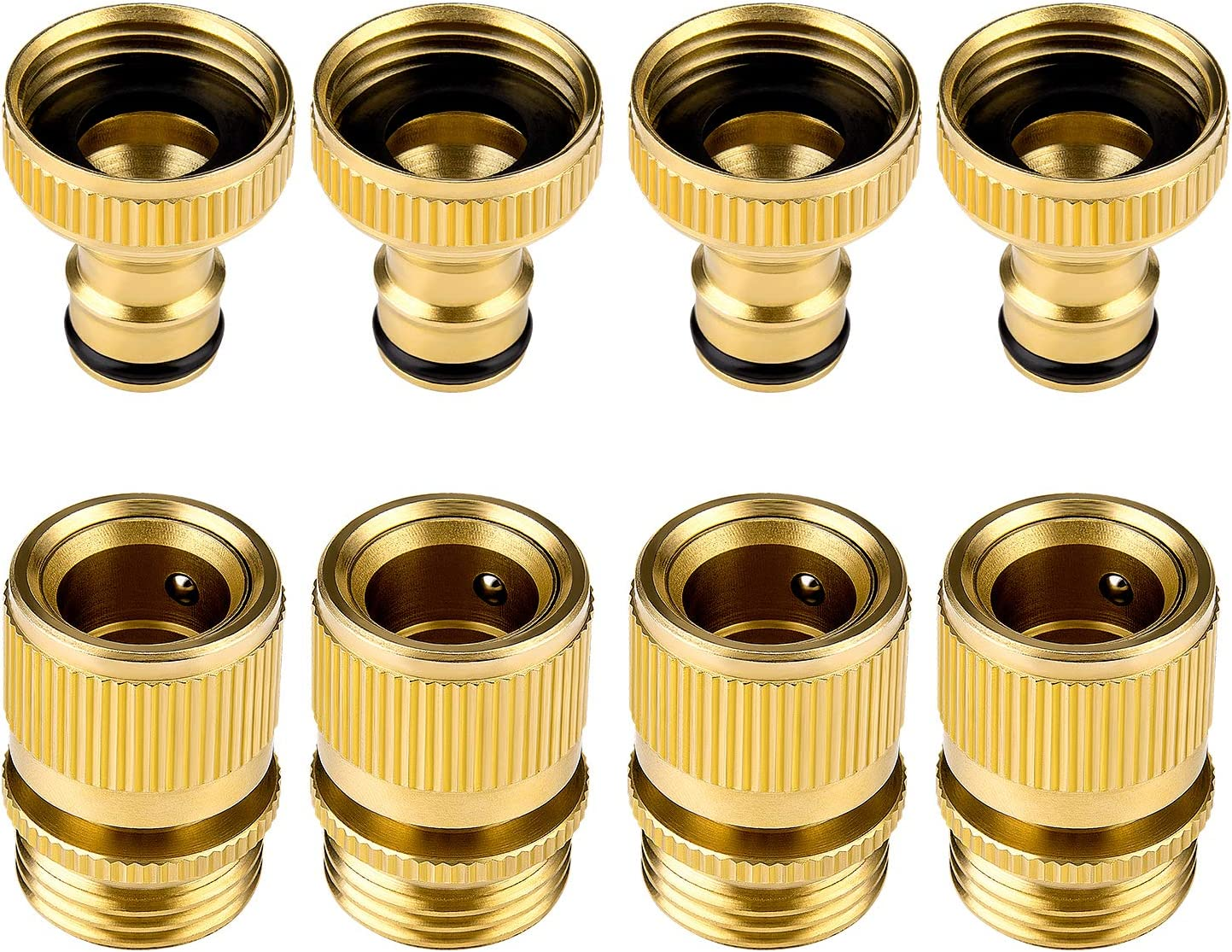 Awpeye Hose Connector ,Hose Quick Connector for Garden, 4Sets 8PCS 4 Female s + 4 Male 3/4 inch Solid Brass Water Connectors
