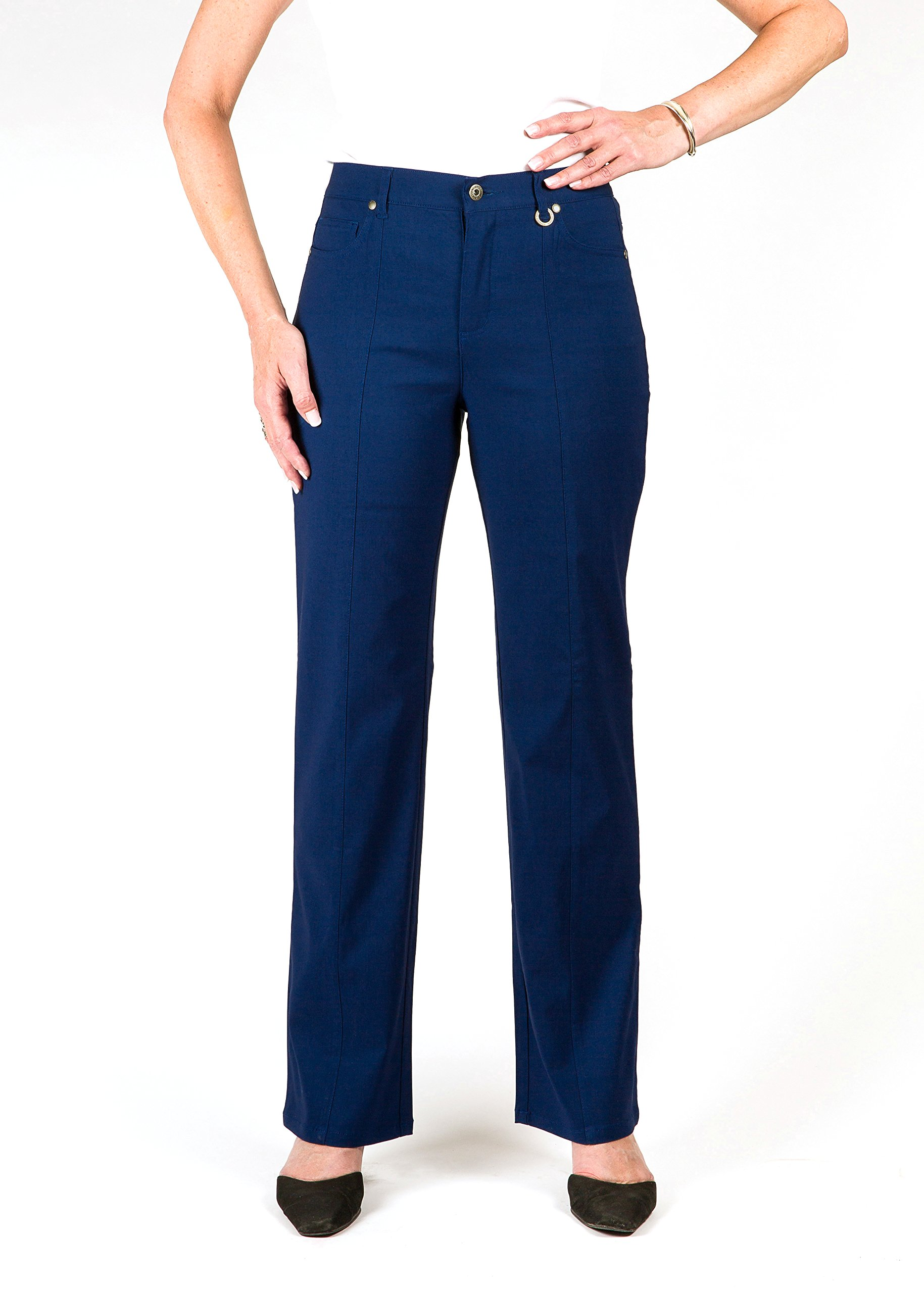 *Petite* Simon Chang 5 Pocket Straight Leg Microtwill Pant Style#3-5302P (14 PT, Navy)
