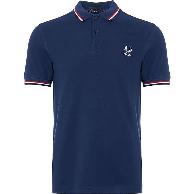 Fred Perry Hombres Doble Punta Francia Polo Camisa XL Azul: Amazon ...