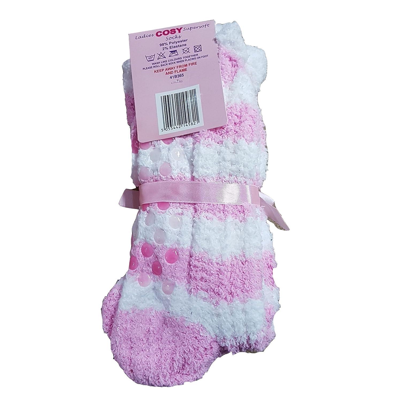 2 Pair Ladies Cosy Soft Fleece Non Slip Slipper LoungeThermal Chunky Gripper Bed Socks 4-8)
