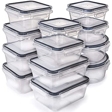 Fullstar [12-Pack] Food Storage Containers with Lids - Plastic Food Containers with lids - Plastic Containers with lids - Airtight Leak Proof Easy Snap Lock and BPA Free Plastic Container Set