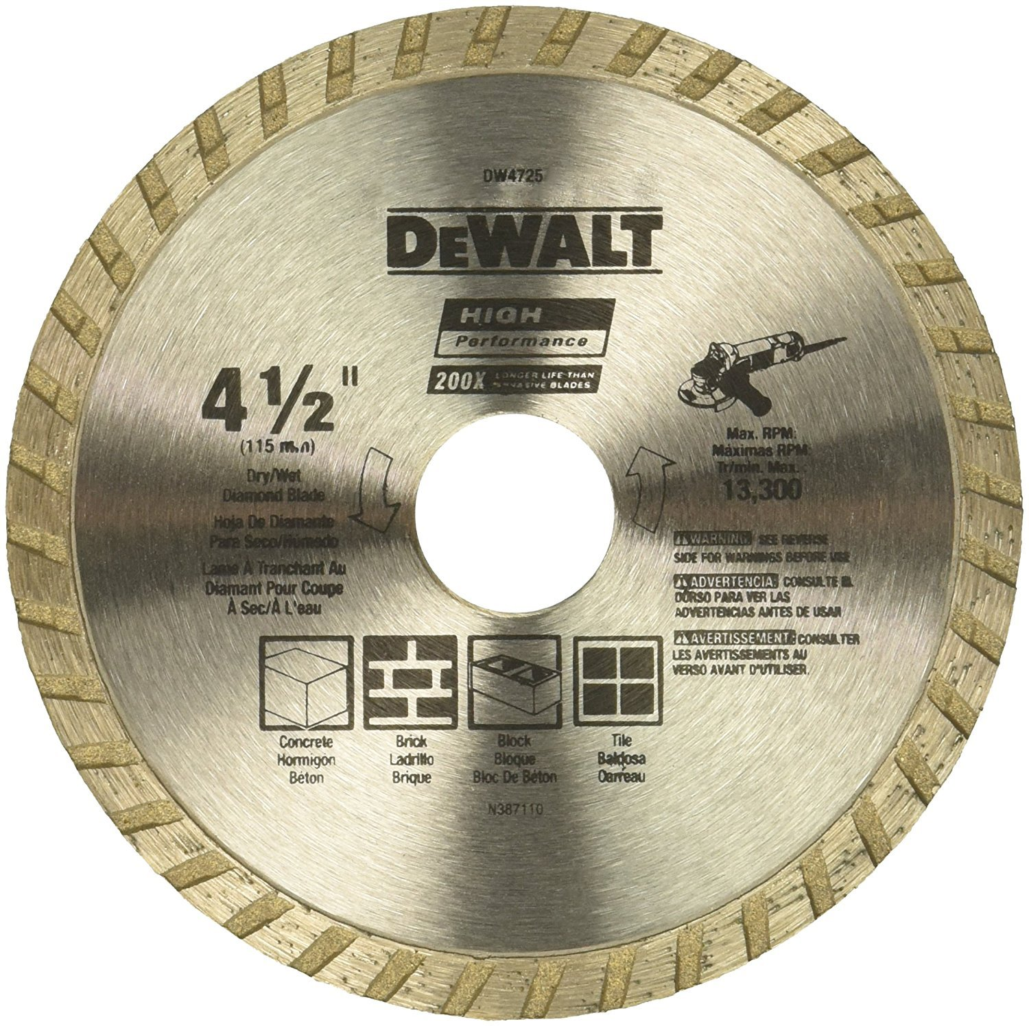 DEWALT DW4725 High Performance 4-1/2-Inch Dry Cutting Continuous Rim Diamond Saw Blade with 7/8-Inch Arbor for Masonry (3-Pack)