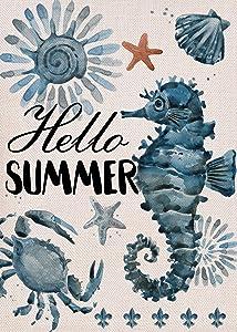 Furiaz Hello Summer Garden Flag, House Yard Decorative Small Flag Seahorse Crab Starfish Shell Home Outside Marine Life Nautical Decoration, Coastal Beach Ocean Outdoor Decor Flag Double Sided 12x18