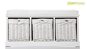 White Wickers Storage Bench With Cushion Seat ,Big And Small Size Hallway  (3 Wickers