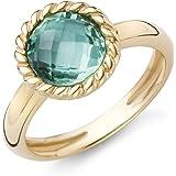 Miore Damen-Ring 9 Karat ( 375 ) Gelbgold Amethyst Quartz 2.0 ct.Quarz grün Rundschliff - MNA9024R