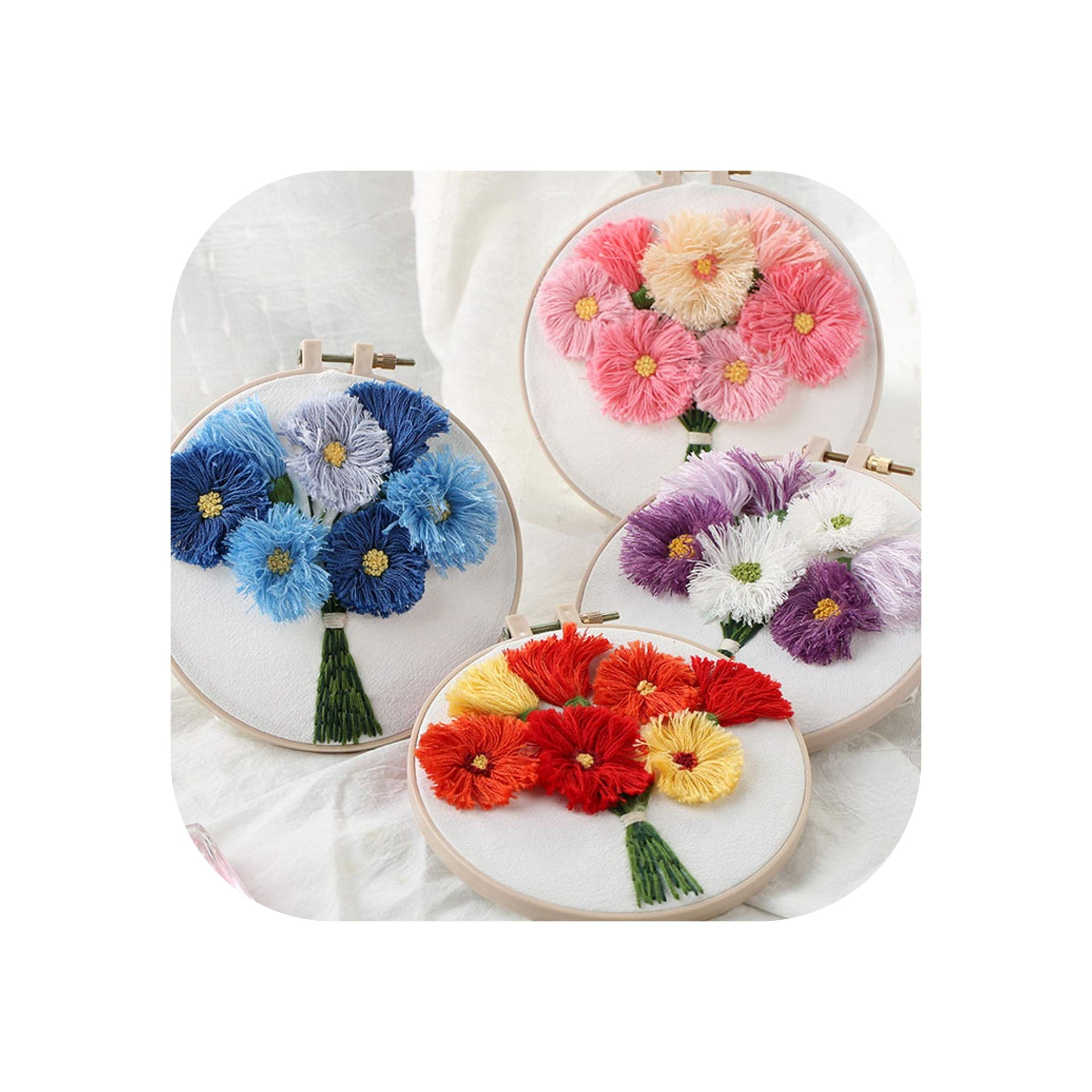 DIY Daisy 3D Embroidery Kit with Hoop Needlework Kits Cross Stitch Set Arts Crafts Sewing Embroidery Wall Painting Handmade Art,4 pcs,15cm Plastic Hoop by koweis